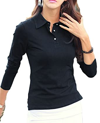 4b081cadf Pandapang Women's Simple Blouse Classic Lapel Long Sleeve Slim Tops Solid  Color Button Tee Shirts Black