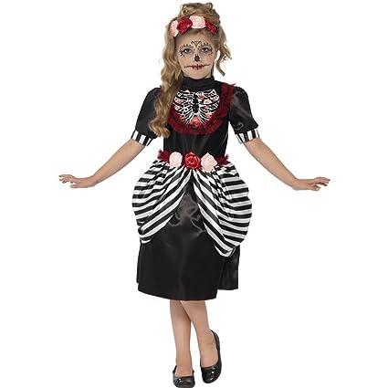 Smiffys-44290L Disfraz de dulce calavera, con vestido y diadema de rosas, color negro, L-Edad 10-12 años (44290L)