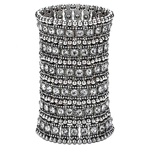 Hiddleston Multilayer 6 Row Jewelry Gothic Stretch Bracelet Sleeve Arm Cuff Rocker Wristband Heavy Metal Bobo Halloween Costume Women -