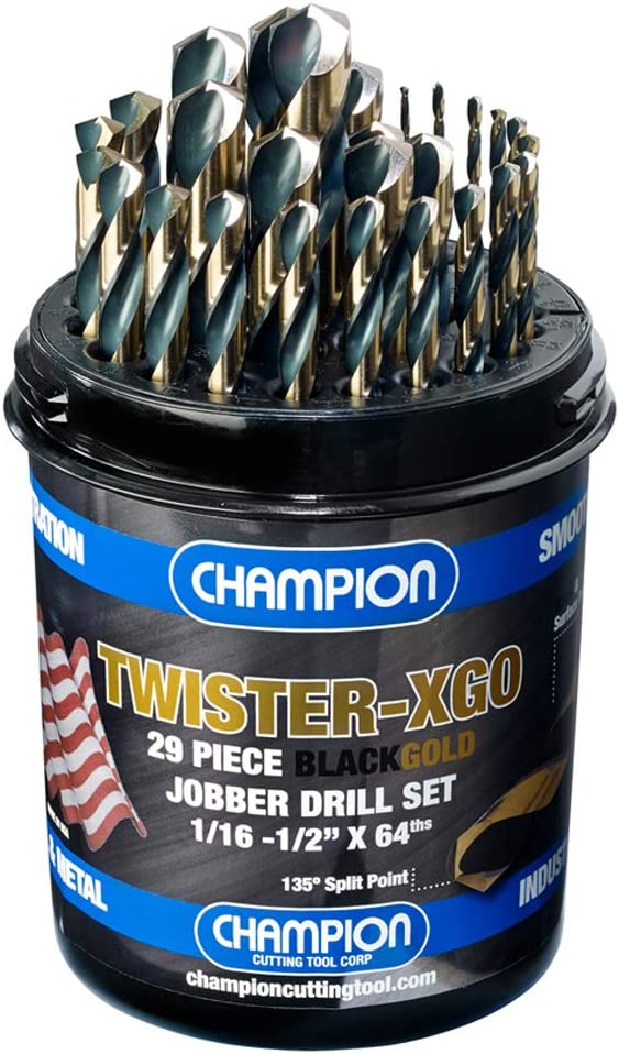 "Champion Cutting Tool Corp TWISTER-XGO Champion Cutting Tool Heavy Duty Black & Gold 29Piece Jobber Drill Bit Set- Made In USA, 135° Split Pt, 1/16""-1/2""x 64Ths,"