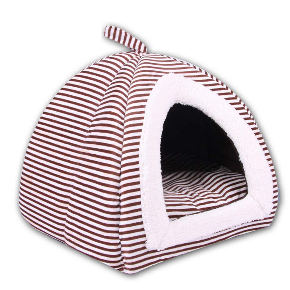 32X38 cm Mzdpp Stripe Soft And Comfortable Cat And Dog Pet Bed Autumn And Winter Basket Mattress Brown Large Medium And Small 32X38 Cm