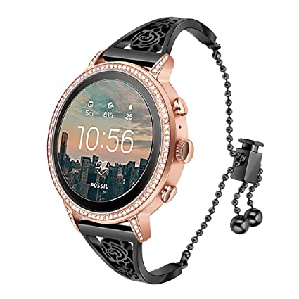 TRUMiRR for Fossil Gen 4 Q Venture HR Women Bands, 18mm Female Watchband Jewelry Cuff Floral Hollow Bracelet Black Stainless Steel Strap for Fossil ...
