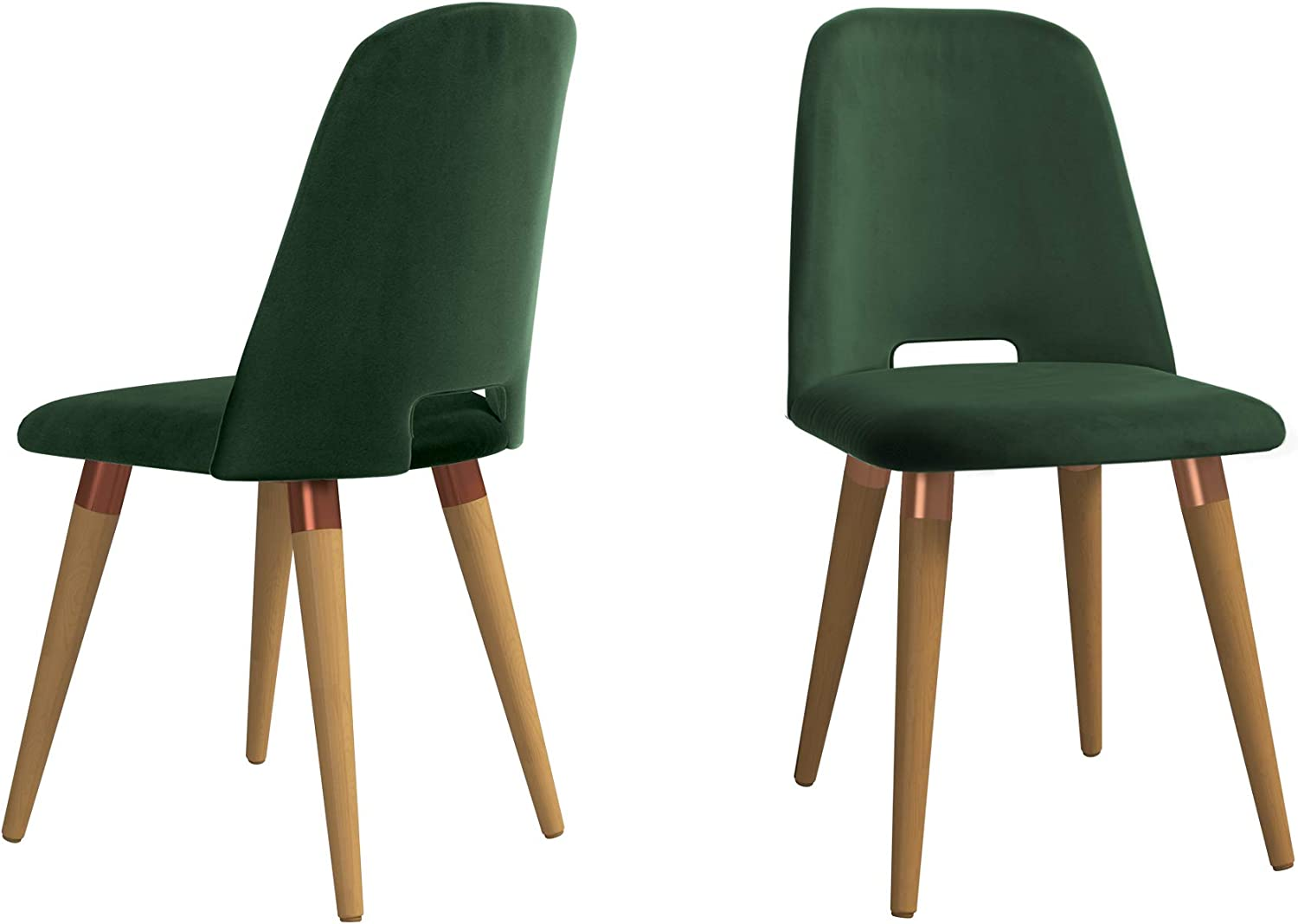 Manhattan Comfort Selina Mid Century Modern Upholstered Living Room Armchair, Set of 2, Green