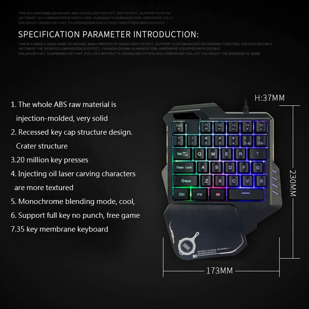Game Metal Keyboard CAPTIANKN G30 USB Mini Mechanical One-Handed Gaming Keyboard RGB Lights 7 Color Lights Effect,RGBsevenkindsoflight