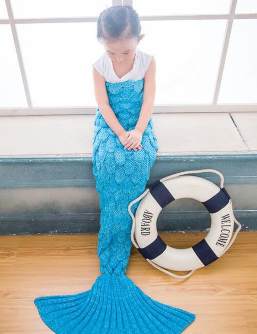 Airdom Mermaid Tail Blanket for Kids Toys Little Crochet Mermaid Blankets Best Birthday for Girls All Seasons Sleeping Throws 55.18 inch x 27.56 inch(A-Scaly-Kids-Blue) by Airdom (Image #3)