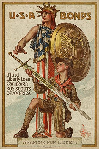 Third Liberty Loan Campaign   Boy Scouts Of America Vintage Poster  Artist  Leyendecker  Usa C  1918  9X12 Collectible Art Print  Wall Decor Travel Poster