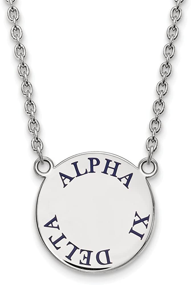 Greek Sororities Sterling Silver LogoArt Alpha Xi Delta Large Enl Pend with Necklace Size One Size