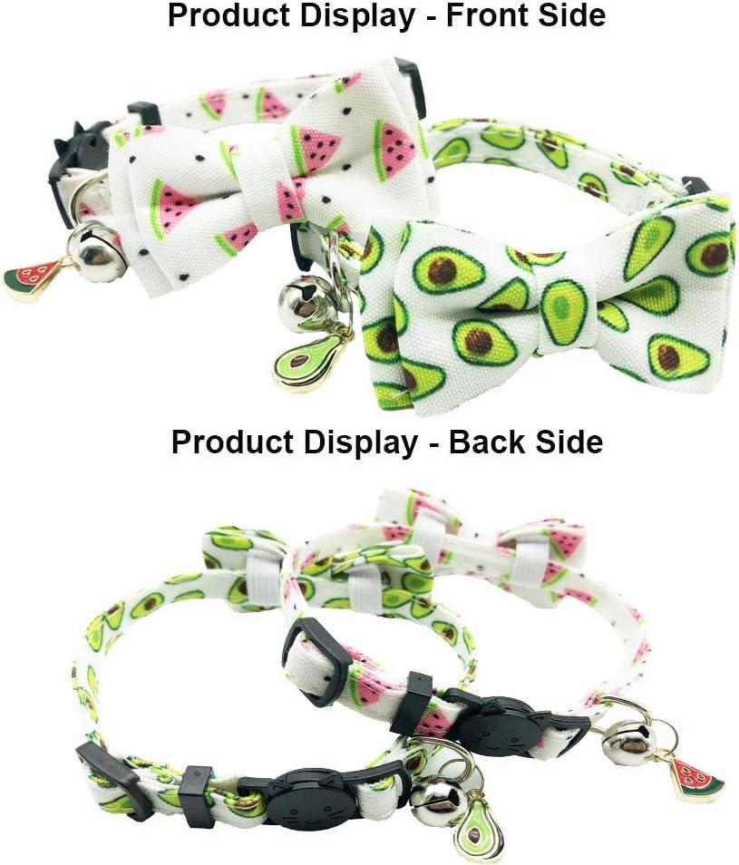 ADOGGYGO Cat Collar Breakaway with Bell Bowtie Cute Pet Kitten Collar Summer Fruit Print Cat Bow Tie Collar for Kitty Cats 2 pcs//Set