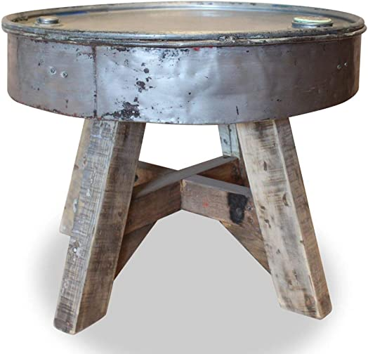 Unfade Memory Handmade Coffee Table Industrial Design Solid Reclaimed Wood Silver