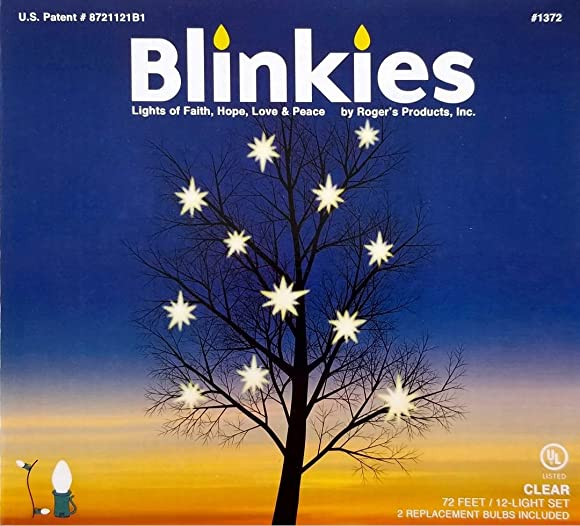 Blinkies – Intermittent, Non-Programmed, Relaxing Blinking Lights, 72 Foot, 12 C7 Bulbs Patented Soft White Blinking Christmas Lights for Holiday Party Wedding Celebration Outdoor Decorating