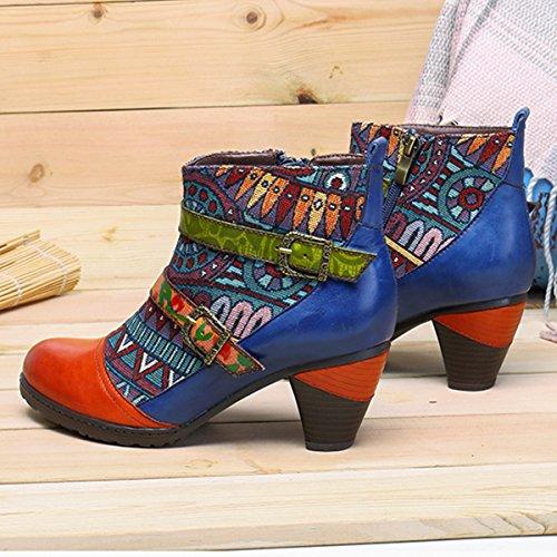 Socofy Block Heel Ankle Booties,Women's Bohemian Splicing Pattern Side Zipper High Block Heel Ankle Leather Boots Orange Red