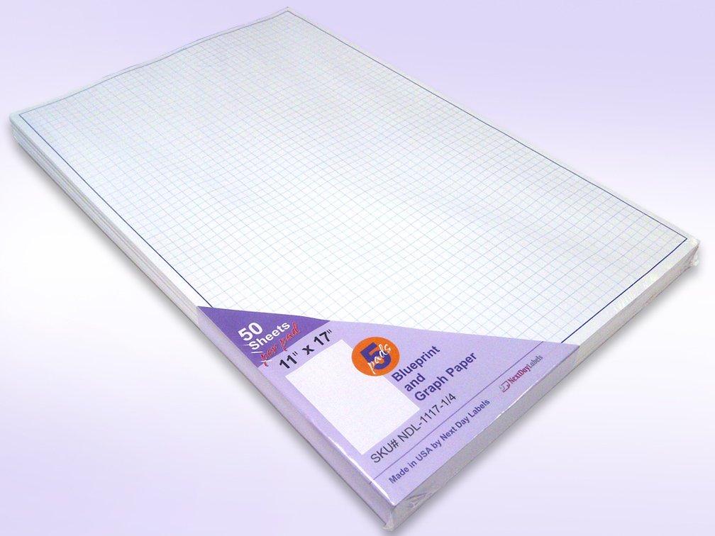 Quadrille Grid Blueprint and Graph Paper (11x17'')