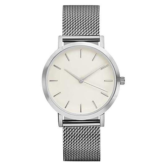 QinMM Reloj análogo de cuarzo para mujer, correa de malla (Plateado)