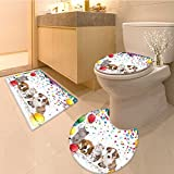 3 Piece Anti-slip mat setParty Dogs and Cats Celebration Balloons Party Cute for Kids Nursery Fabric Yello Red Non Slip Bathroom Rugs