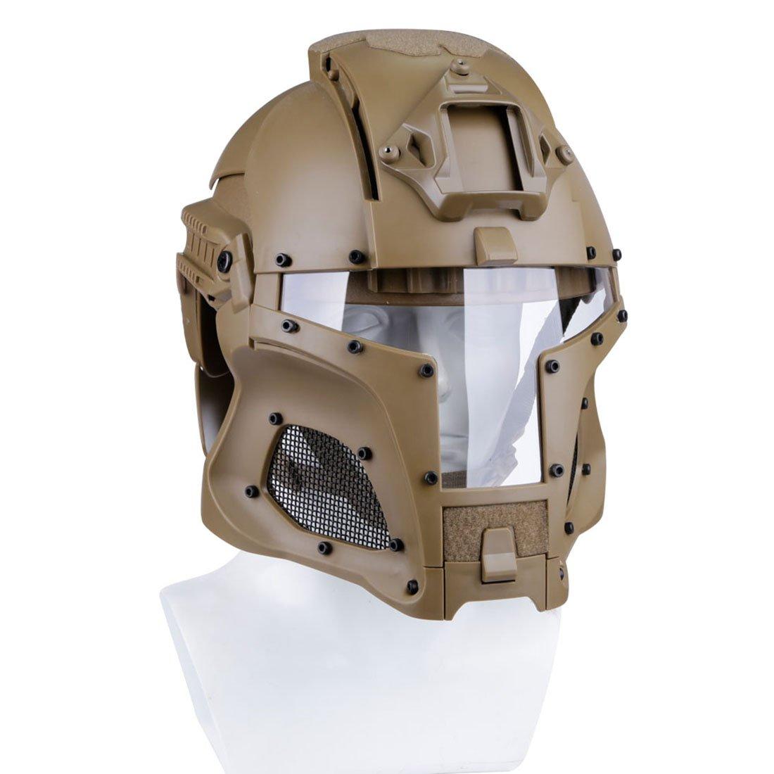 Yakok Casco de caballero medieval Airsoft de hierro táctico protector casco Airsoft máscara y gafas de cara completa para Airsoft, CS, juego de paintball, 54 – 64 cm, color canela, tamaño 30*22*22cm 54 - 64 cm
