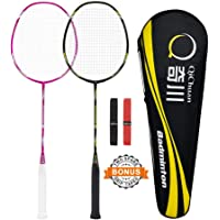 Badminton Rackets with Frame Protection for Beginners Adults, Graphite Shaft Aluminum Frame, Includes QICHUAN Racquet Bag / 2 Grip Tapes