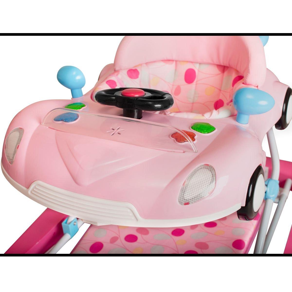 PREMIUM Lauflernhilfe//Babyschaukel mit Spielcenter PINK 12 Melodien /& Tablett