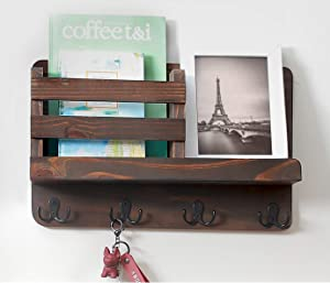 Wooden Wall Mount Entryway Mail Organizer Wall Mount with Key Holder Hooks, Leash Hanging, Coat Rack, Mail sorter Wall Mount, Mail Holder Home Decorative Floating Shelf (Brown)