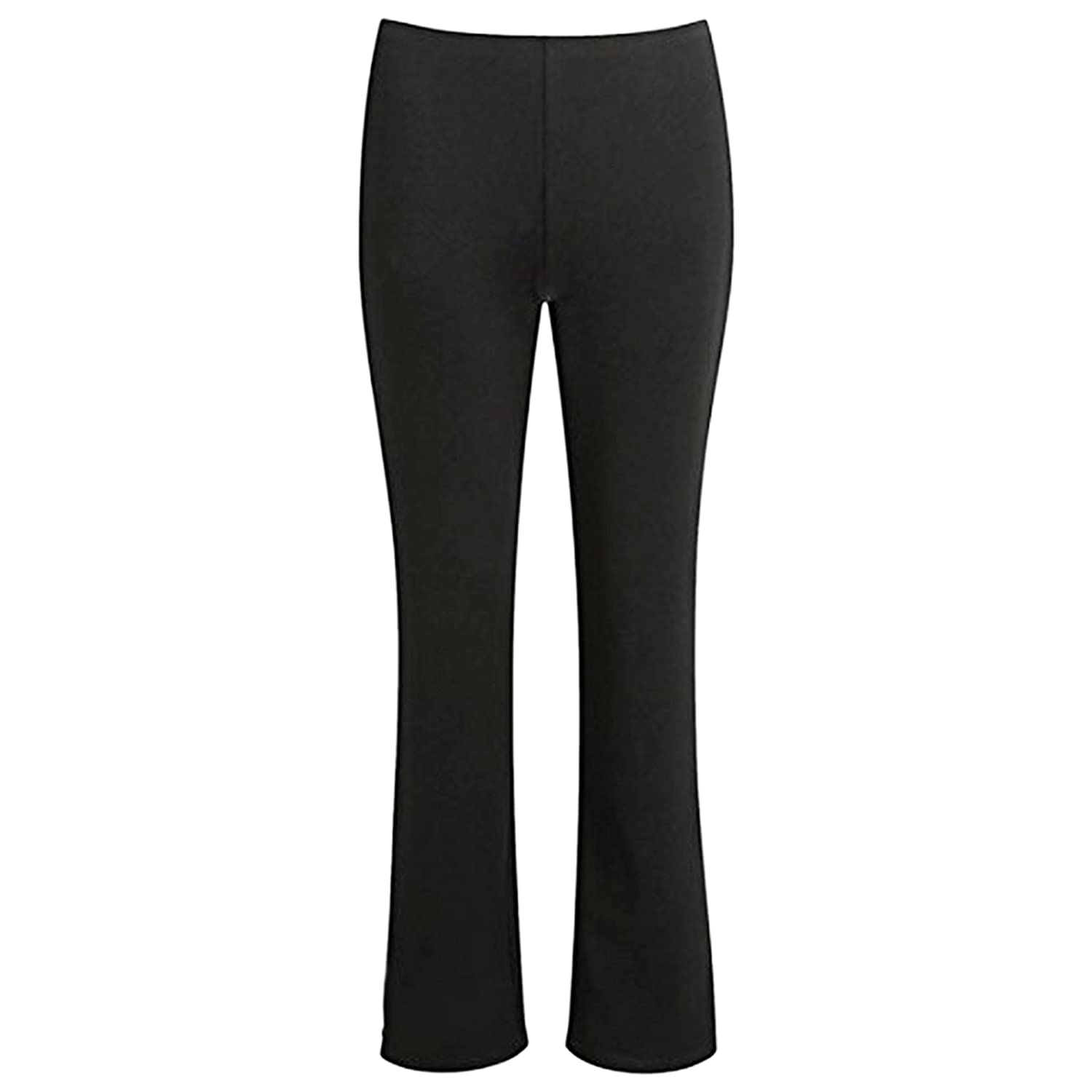 7cba333582fc2 MyShoeStore (Pack of 2 Ladies Bootleg Trousers Women Boot Cut High Rise  Stretch Soft Finely Ribbed Pull On Nurse…