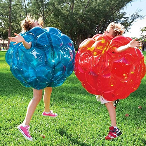 (Inflatable 36'' Wearable Buddy Bumper Zorb Balls Heavy Duty Durable PVC Viny Bubble Soccer Outdoor Game (2-Pack,Blue&Red)))