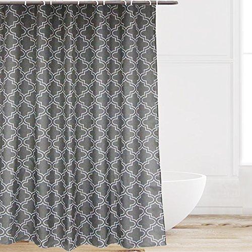 Eforcurtain White Quatrefoil Print Polyester Fabric Bath Cur