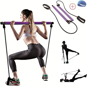 TTCB Portable Yoga Pilates Bar Kit, Pilates Equipment with Resistance Band Bar for Total Body Workout, Yoga, Fitness, Stretch, Resistance Workout at Home Exercise Equipment