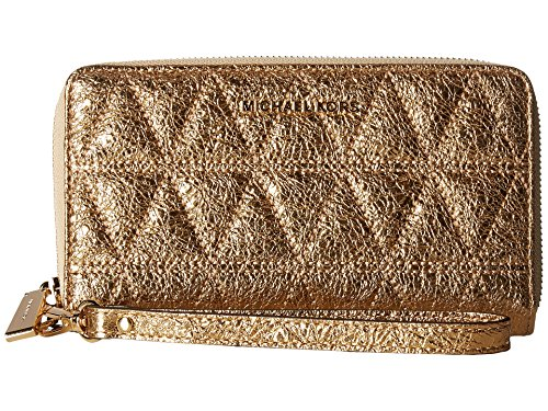 (MICHAEL Michael Kors Large Flat Multifunction Leather Phone Case Wristlet, Pale Gold)