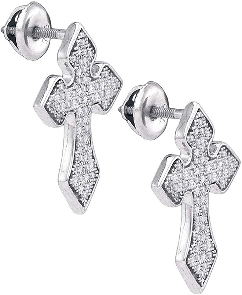 Sterling Silver Mens Round Diamond Flared Cross Crucifix Stud Earrings 1//5 Cttw