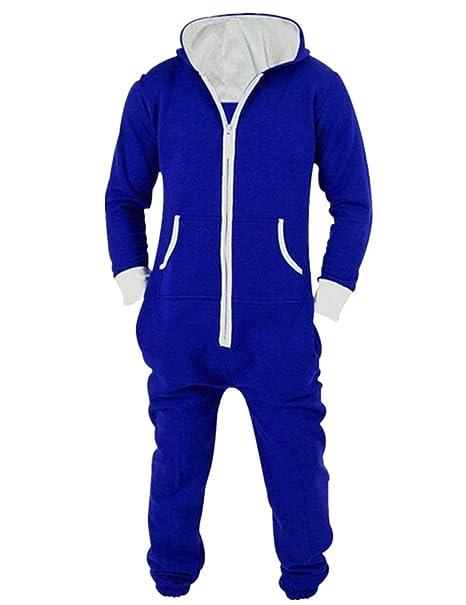 L-Peach Pijama de Una Pieza Mono Onesie Jumpsuit con Capucha para Hombre o Mujer
