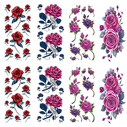 Rose tattoos for women 8 Pcs by Qufan,LargeTemporary Tattoo sticker fake tattoos for Girls,Waterproof and Long Lasting Sexy flower tattoos -Rose tattoo,Flower,purple Rose,floral tattoo