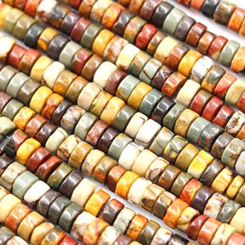 Fashiontrenda Natural Picasso Jasper Rondelle 2x4mm Gemstones Beads for DIY Jewelry ()