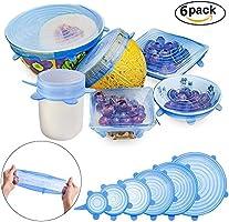 GESCHOK Couvercle silicone alimentaire, 6 paquets de couvercles extensible en silicone
