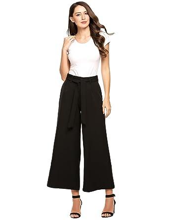 23431d557b159e Amazon.com  Legros Palazzo Pants Women Fashion Vintage High Waist ...