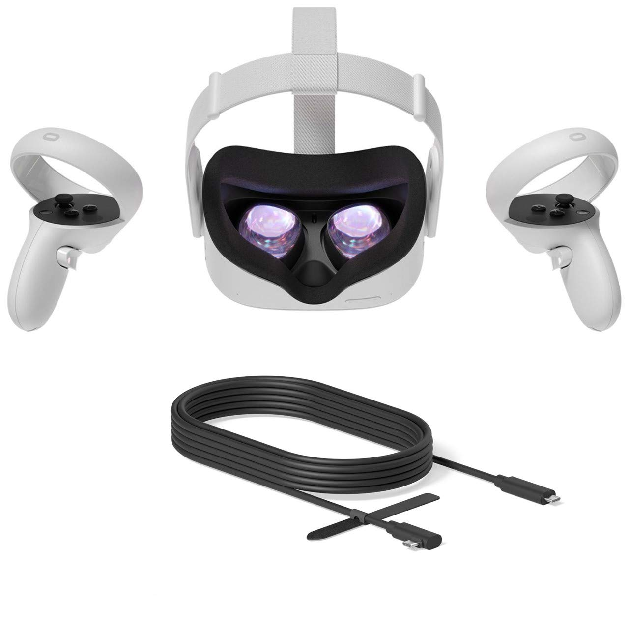 2020 Oculus Quest 2 All-In-One VR Headset, Touch Controllers, 256GB SSD, 1832x1920 up to 90 Hz Refresh Rate LCD, Glasses Compitble, 3D Audio, Mytrix Link Cable (3M)