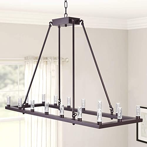 MEEROSEE Rectangluar Modern Led Chandelier Lighting L39.37 Farmhouse Pendant Light Fixture Acrylic Shade 16 Lights Dining Room Chandeliers Oil Rubbed Bronze for Island Kitchen Living Room