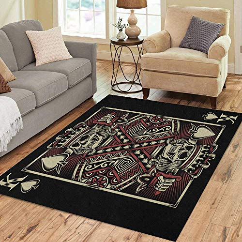 Pinbeam Area Rug King Skull Playing Poker Sword Spade Tattoo Gamble Home Decor Floor Rug 2' x 3' Carpet]()
