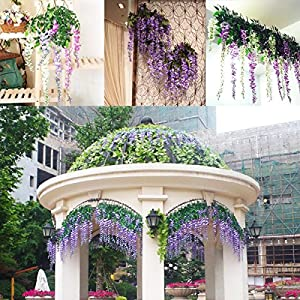 Marcherry Artificial Flowers 12 Pack 3.6 Feet Rattan Strip Artificial Fake Wisteria Vine for Home Kids Room Garden Hotel Office Wedding Decor Wall Crafts Art Party Decoration (Purple) 4