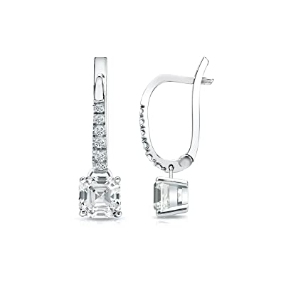df307e5db IGI Certified 18k White Gold Asscher Diamond Dangle 4-Prong Basket Earrings  (1 cttw