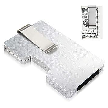 Porte Carte De Credit Aluminium Avec 2 Pince A Billets Et RFID NFC Blocage