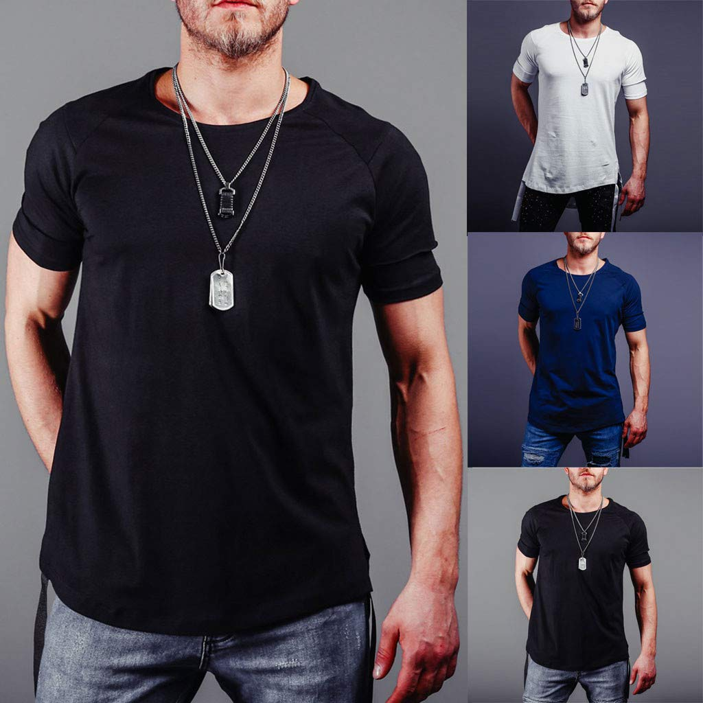 STORTO Mens Solid Fit Tee Shirts Casual Fashion Sport Tops Short Sleeve Gym T-Shirts
