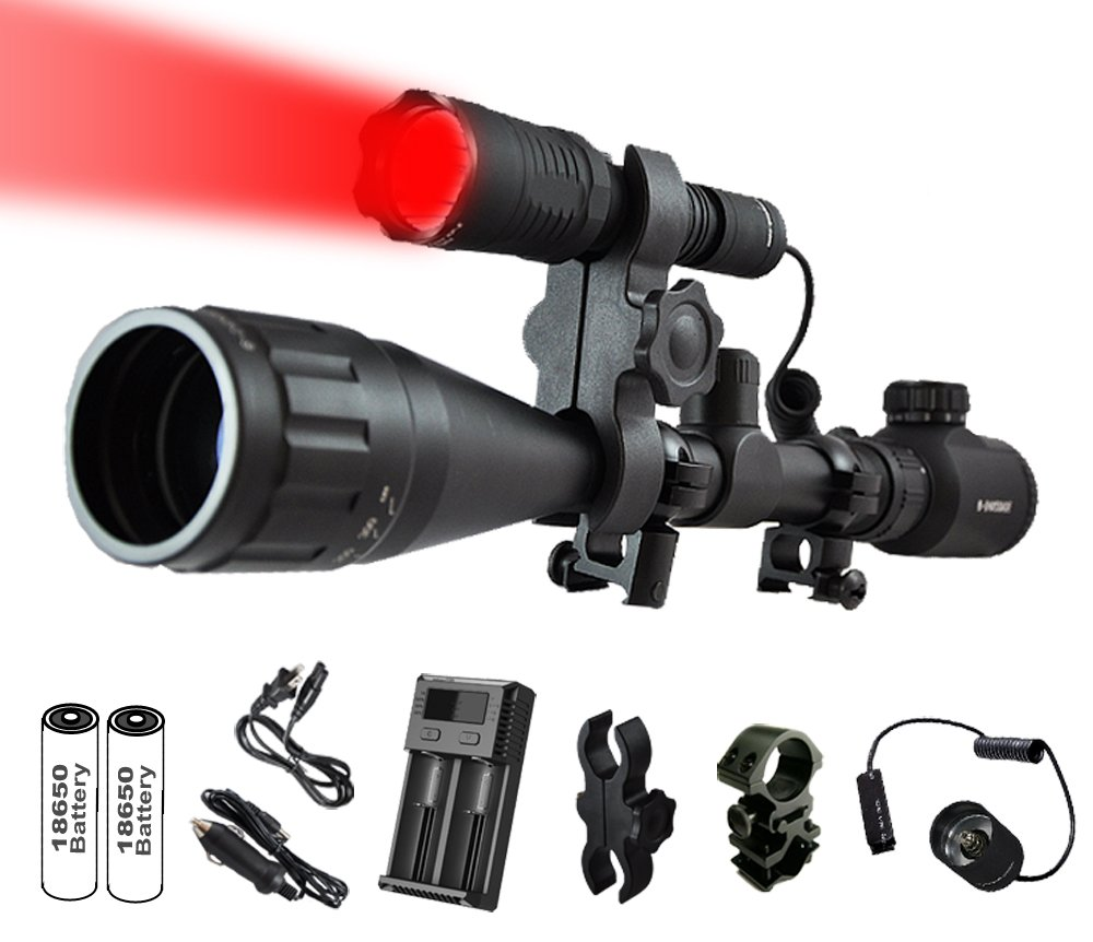 Orion Predator H30 273 Yards Red Coyote Varmint Hunting Light Premium Rechargeable Kit with High Clearance Scope Mount, Barrel and Rail Mount, Pressure Switch, 2 Rechargeable Batteries and Charger