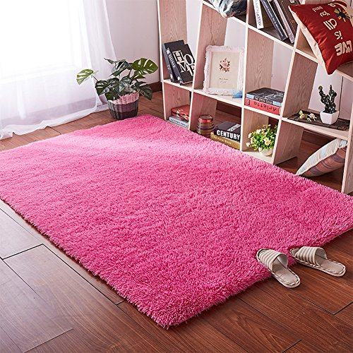 Softlife Area Rugs for Bedroom - 4' x 5.3' Shaggy Floor Carpet Cute Nursery Rug for Living Room Girls Room Home Decor, Hot Pink