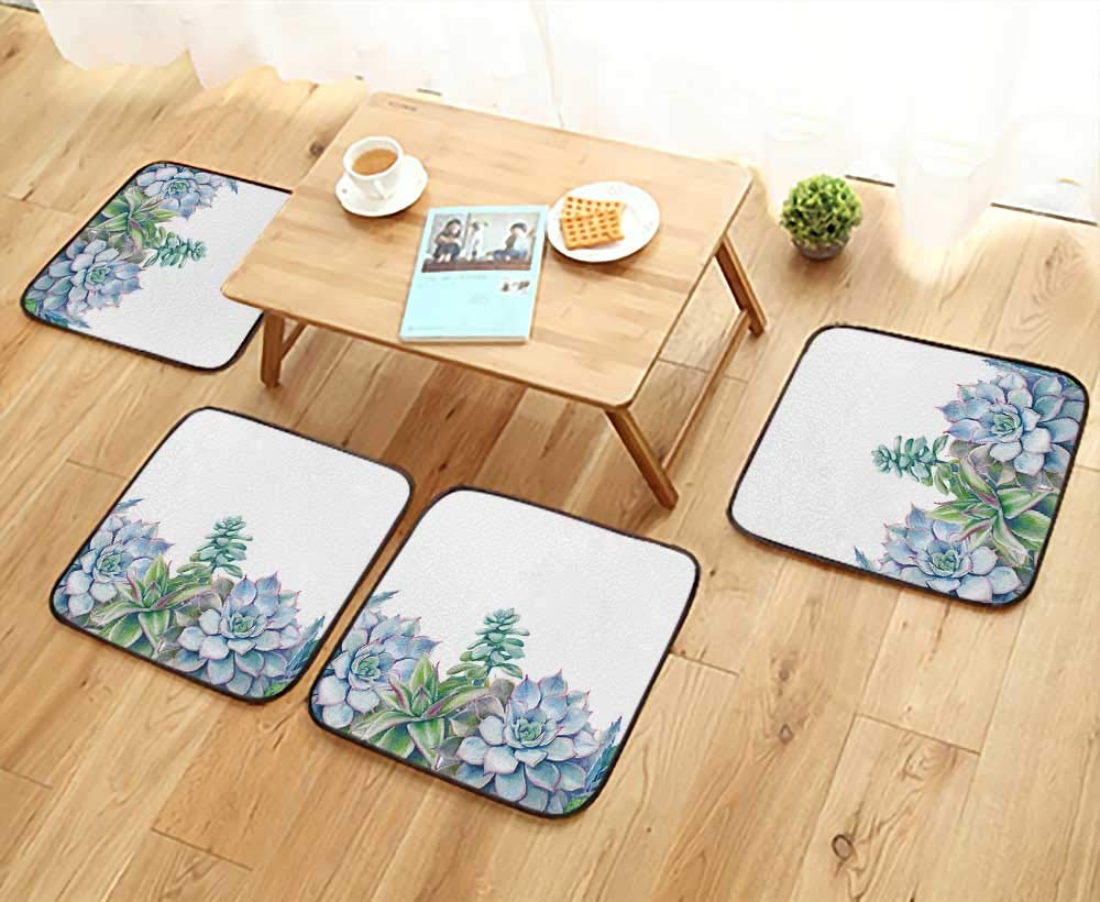 UHOO2018 Universal Chair Cushions Succulents Background Painted Green Plants on White Card Design Personalized Durable W15.5 x L15.5/4PCS Set