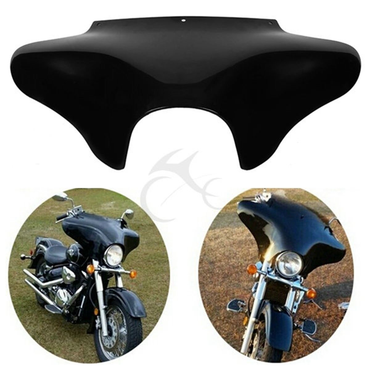 TCMT Vivid Black Front Outer Batwing Fairing For Harley Softail Road King Dyna
