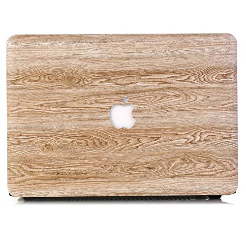Tip-top AIR 11-inch PU Leather Logo See Through Hard Case Wood Grain Protective Skin Cover Shell for Apple MacBook Air 11.6