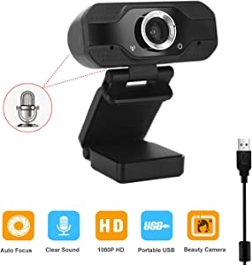 Webcam with Microphone, 1080P Full HD USB Desktop Laptop Web Camera for Video Conferencing, Online Work, Home Office, YouTube, Recording, Online Network Teaching and Streaming