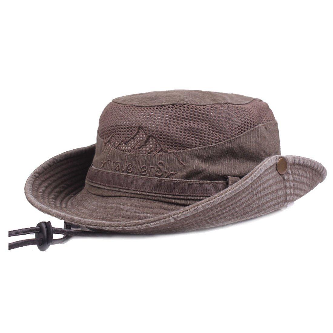 King Star Men Summer Cotton Cowboy Sun Hat Wide Brim Bucket Fishing Hats Coffee