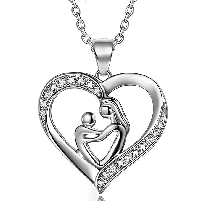 TOJEAN Deep Love' Joyería de Navidad para Mujer Collar de Plata de Ley 925 Collar Corazón Collares para Mujer Regalos para Mujer