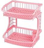 パール金属 食器 水切り かご 2段 ピンク スキット 日本製 HB-609