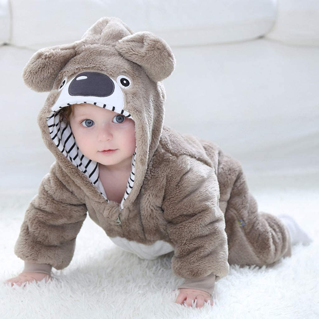 Cute Bear Baby Animal Head Best Baby Crawling Suit Lone-Sleeved Romper Bodysuit